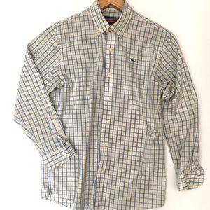 Vineyard Vines Whale Shirt Boys Button Up Size M